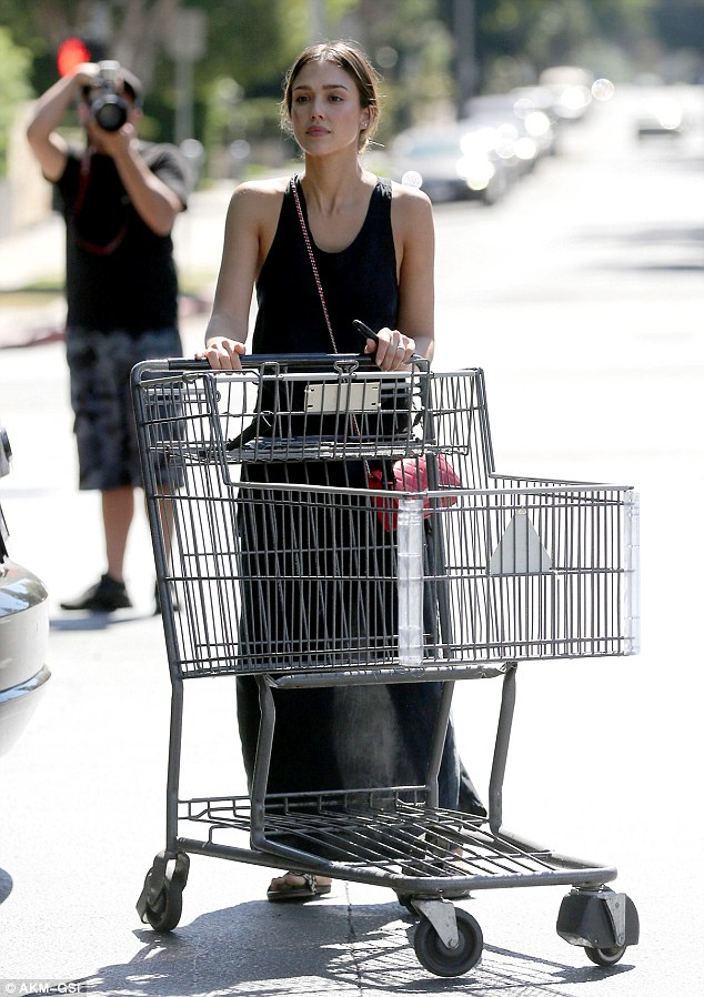 Gorgeous grocery goer: Jessica Alba looked beautiful as always as she was spotted shopping at Bristol Farms in Beverly Hills on Sunday