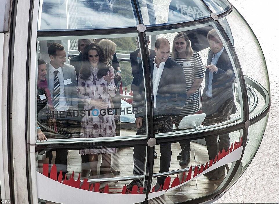 Are you home Granny? Prince Harry was eager to see if he could figure out if his grandmother was in situ at Buckingham Palace as he took a trip on The London Eye