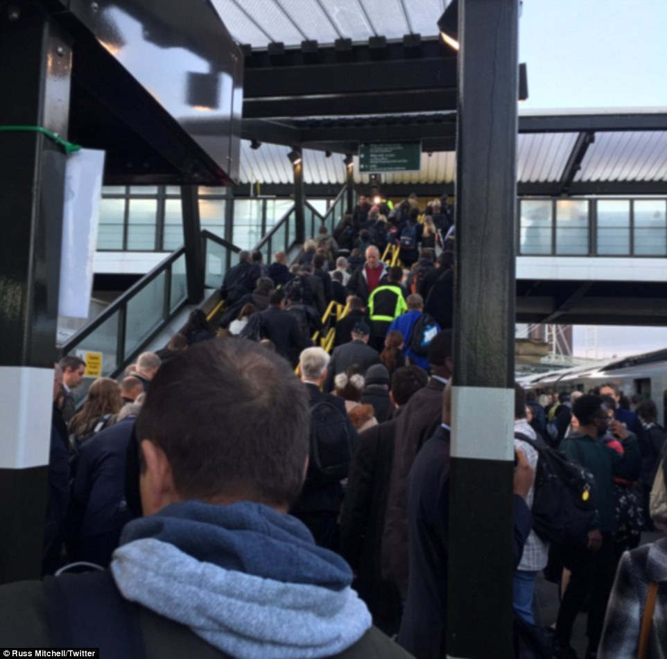 Chaos: Commuter Ross Mitchell took this picture of the packed station at East Croydon this morning