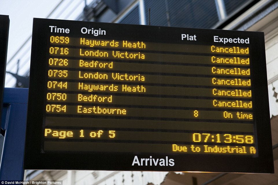 Cancelled: Rail chaos at Brighton station this morning during rush hour as strike action and engineering works closed the line