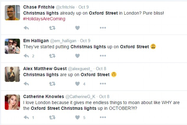 There was a mixed reaction on social media with many users excited about the lights being up and others moaning about it being too early