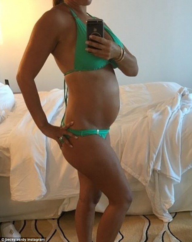 Hello bump! The 34-year-old posted a bikini shot showing her swelling belly three weeks ago via her Instagram accournt