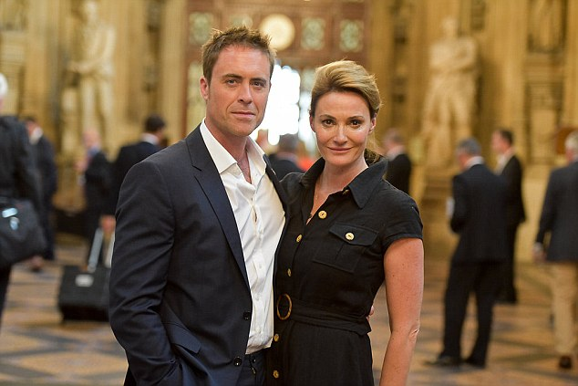 Sarah Parish and James Murray have revealed how their daughter Ella-Jayne's death at just eight-months-old in January 2008 has led them to 'dig deep' in a bid to helps others (Pictured: The couple at the Houses of Parliament during the launch of the #2MillionSteps campaign)