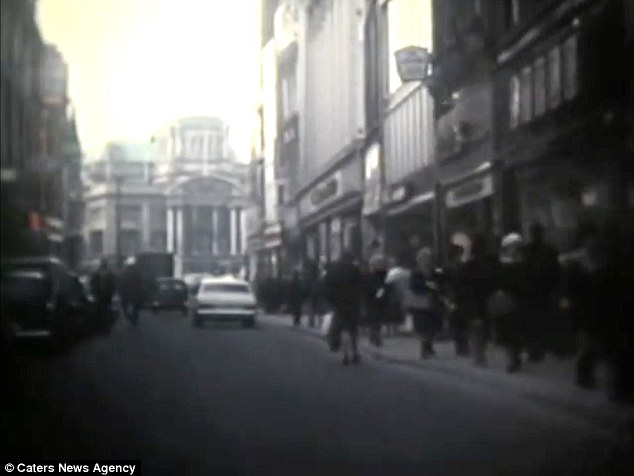 Filming: Maud Mellors drove around the centre of Hull with her son Peter in the late 1960s