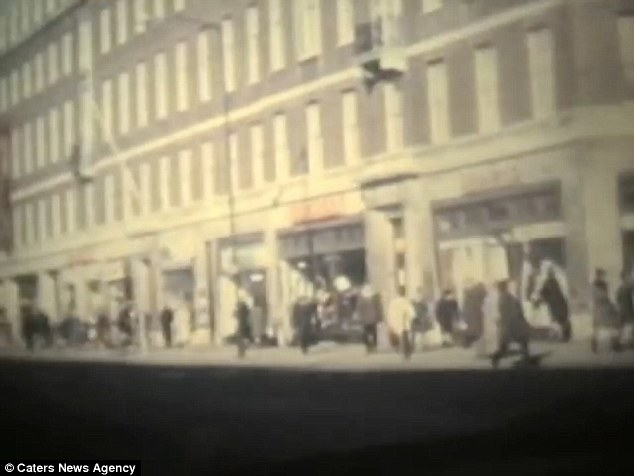 Street view: The video has emerged nearly 50 years later after her grandson  found the reels