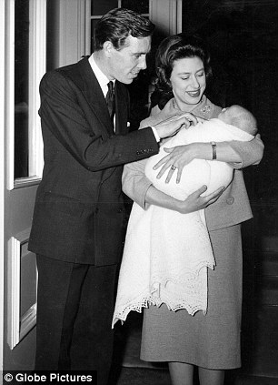 Prince William and the Duchess of Cambridge. Right: Princess Margaret and Lord Snowdon with Viscount Linley shortly after his birth in November 1961