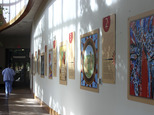This Monday, Oct. 10, 2016 photo, part of a 16-piece traveling art exhibit is on display in Sioux Falls, S.D.  Avera Health¿s Prairie Center is hosting a rep...