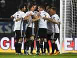 CAPTION CORRECTS THE NAME - Germany¿s Julian Draxler, center with 7, celebrates with team mates after scoring his side¿s opening goal during the World Cup Gr...