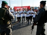 Palestinian youths wanting to play football in the Maale Adumim settlement in the Israeli occupied West Bank are blocked by Israeli security forces on Octobe...