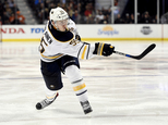 FILE - In this Feb. 24, 2016, file photo, Buffalo Sabres defenseman Rasmus Ristolainen, of Finland, attempts a shot during the third period of an NHL hockey ...