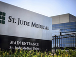 FILE - This Wednesday, July 22, 2015, file photo shows St. Jude Medical corporate headquarters, in Little Canada, Minn., just north of St. Paul. Medical devi...