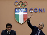 Italian Olympic Committee President Giovanni Malago', right, and Vice-President Luca Pancalli attend a press conference in Rome,  Tuesday, Oct. 11, 2016. The...