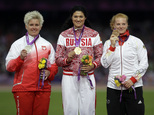 FILE - In this file photo dated Saturday, Aug. 11, 2012, Russia's Tatyana Lysenko is flanked by Poland's Anita Wlodarczyk, left, and Germany's Betty Heidler ...