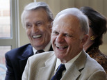CORRECTS YEAR OF PHOTO TO 2013 - FILE - In this Sept. 18, 2013, file photo, former U.S. Senators David Pryor, right, and Dale Bumpers, both D-Ark., laugh at ...