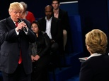 Republican Presidential nominee Donald Trump speaks during a town hall debate on October 9, 2016