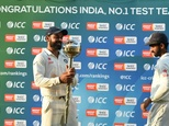 India Test cricket captain Virat Kohli holds the ICC Number 1 Test cricket team mace after his side won the three Test series against New Zealand at the Holk...
