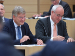 FILE - In this Sept. 28, 2016 file photo the AfD chairman Joerg Meuthen, left, and Heiner Merz attend a session of the state parliament in German state of Ba...