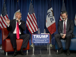 FILE - In a Jan. 31, 2016 file photo, Jerry Falwell Jr., president of Liberty University, smiles as he listens to Republican presidential candidate Donald Tr...