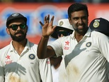 Ravichandran Ashwin (right) returned match figures of 13-140 as India sealed a 3-0 Test series whitewash against New Zealand in Indore on October 11, 2016