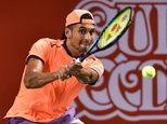 Australia's Nick Kyrgios in action against Belgium's David Goffin during the Japan Open final in Tokyo on October 9, 2016