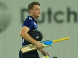 England captain Jos Buttler walks off after his dismissal during the second one-day international against Bangladesh at the Sher-e-Bangla National Cricket St...