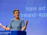 FILE - A Tuesday, Aug. 30, 2016 photo from files showing European Union Competition Commissioner, Margrethe Vestager, speaking at EU headquarters in Brussels...