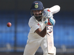 Indian batsman Cheteshwar Pujara bats during the fourth day of the third test cricket match between India and New Zealand in Indore, India, Tuesday, Oct. 11,...