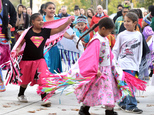 A group of young dancers dance, Monday, Oct. 10, 2016, outside Spokane City Hall at a celebration for the first Indigenous Peoples' Day in Spokane. Earlier t...