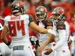Roberto Aguayo (R) of the Tampa Bay Buccaneers is congratulated by teammates after kicking a field goal during a NFL game at Georgia Dome in Atlanta, in Sept...