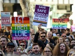 Same-sex marriage supporters attend a rally in Sydney, in June 2016