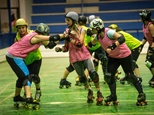 South African women practice Roller Derby during a training session in Johannesburg