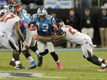 Carolina Panthers' Fozzy Whittaker (43) is tackled by Tampa Bay Buccaneers' Chris Conte (23) in the first half of an NFL football game in Charlotte, N.C., Mo...