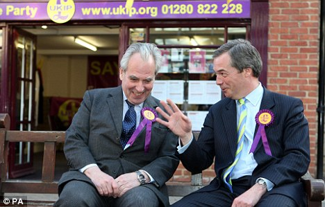 UKIP leader Lord Pearson of Rannoch and candidate for Buckingham Nigel Farage outside the party's office