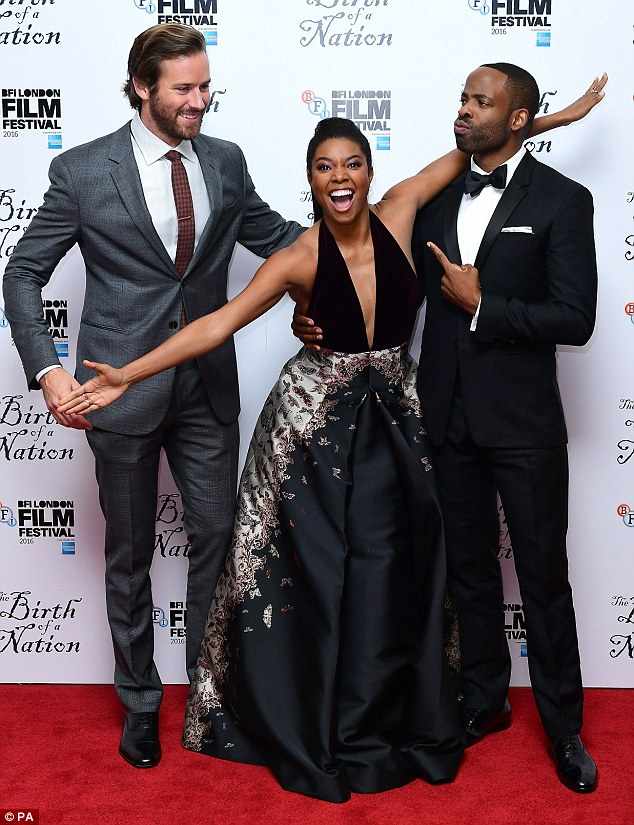 Larking about: Gabielle enjoyed catching up with co-stars Armie Hammer and Chike Okonkwo