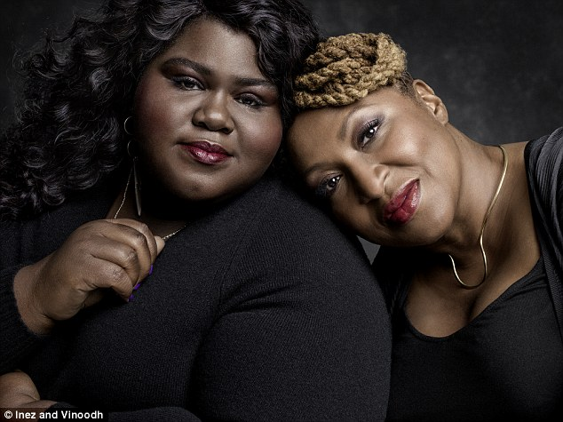 Support: Actress Gabourey Sidibe, 33, pictured with Lisa Cortes, producer of Precious, is also featured in the campaign