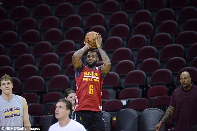 LeBron James practises ahead of Thursday night's crucial showdown between Cleveland and Golden State