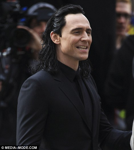 New look: Taylor Swift's new boyfriend Tom Hiddleston was seen wearing a long black wig of his Thor character Loki as he filmed in Queensland on Monday