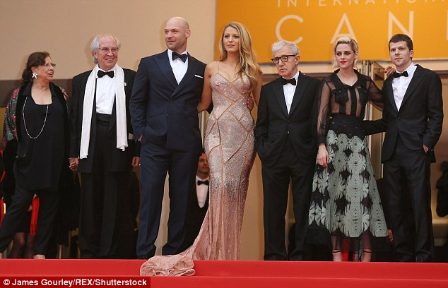 Celebrating: Jesse, far right, with Vittorio Storaro, Corey Stoll, Blake Lively,  Allen and Stewart and at the Cafe Society premiere at the 69th Cannes Film Festival in France in May