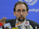 """FILE - In this Feb. 9, 2016, file photo, United Nations High Commissioner for Human Rights Zeid Ra¿ad al-Hussein speaks in Colombo, Sri Lanka. The U.N. human rights chief said on Wednesday, Oct. 12, 2016 that U.S. presidential candidate Donald Trump would be """"dangerous from an international point of view"""" if he is elected. (AP Photo/Eranga Jayawardena, File)"""