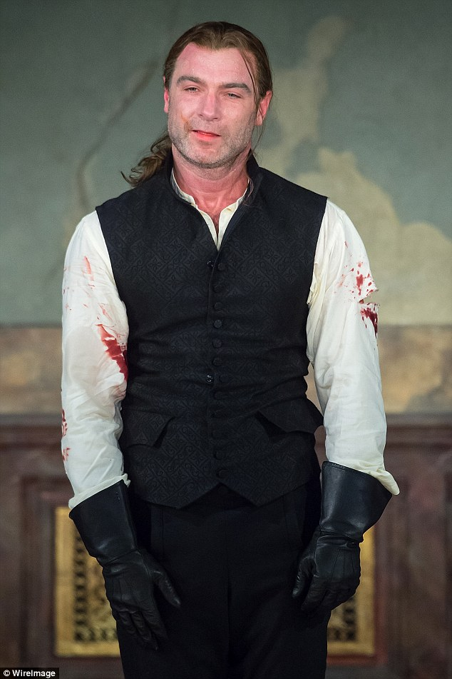 Center stage: Liev in a bloodied costume for the curtain call of the revival of Les Liaisons Dangereuses, which opened on Broadway on Saturday