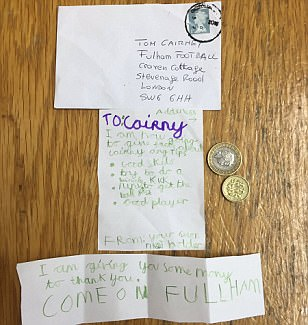Fulham midfielder Tom Cairney receives fan mail from a young supporter giving him £3 as