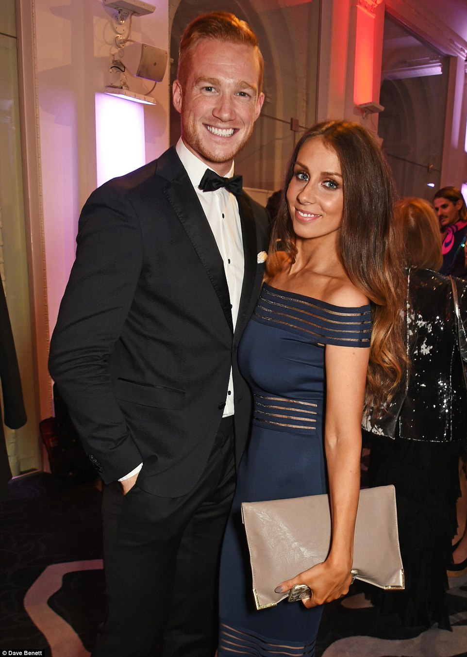 Strictly stylish: Greg Rutherford and his stunning partner Susie Verrill cuddled up at the event