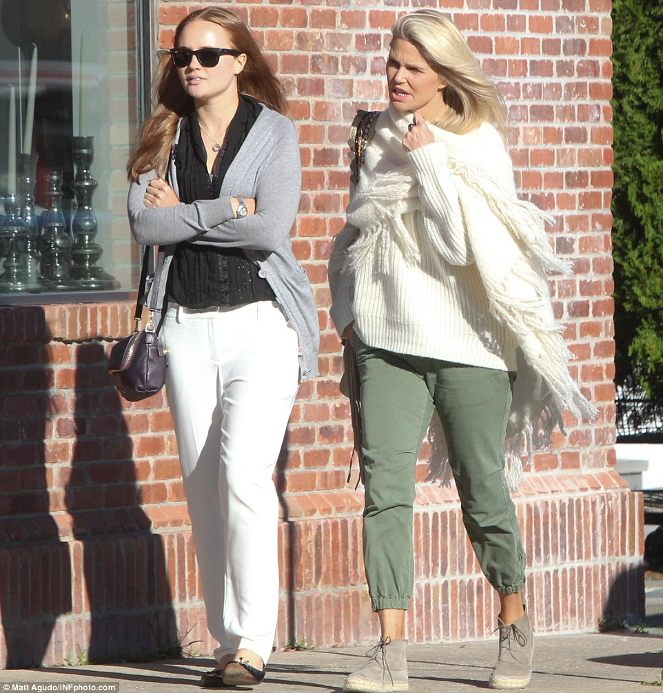 A fun day out: Christie was taking her loved ones to the Hamptons Film Festival