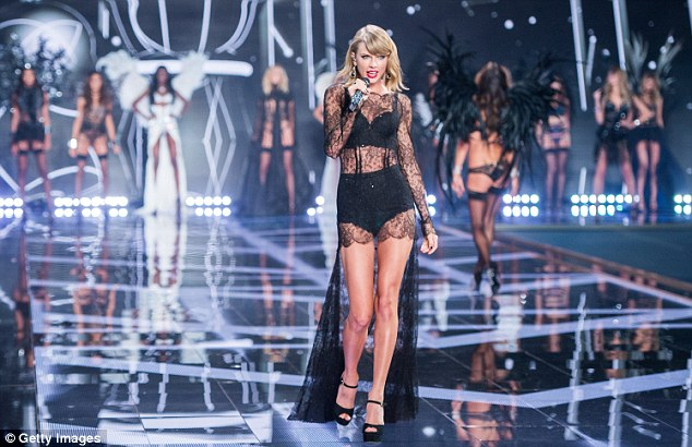 Crush:The 44-year-old father of three was also said to be 'particularly impressed' with the legs of model Gigi Hadid and singer Taylor Swift (above at the 2014 Victoria's Secret show)