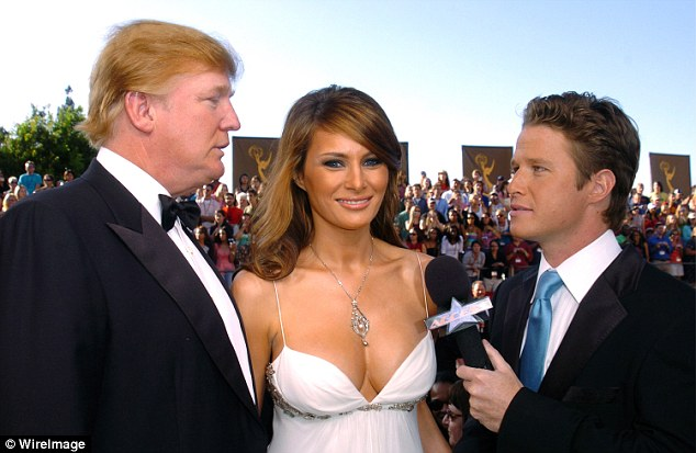 Friends: Bush interviews Melania and Donald Trump at the 2004 Emmy Awards (above)