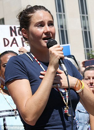 Lending her voice: The actress and environmental activist also attended protests over the pipeline in Washington and New York in August