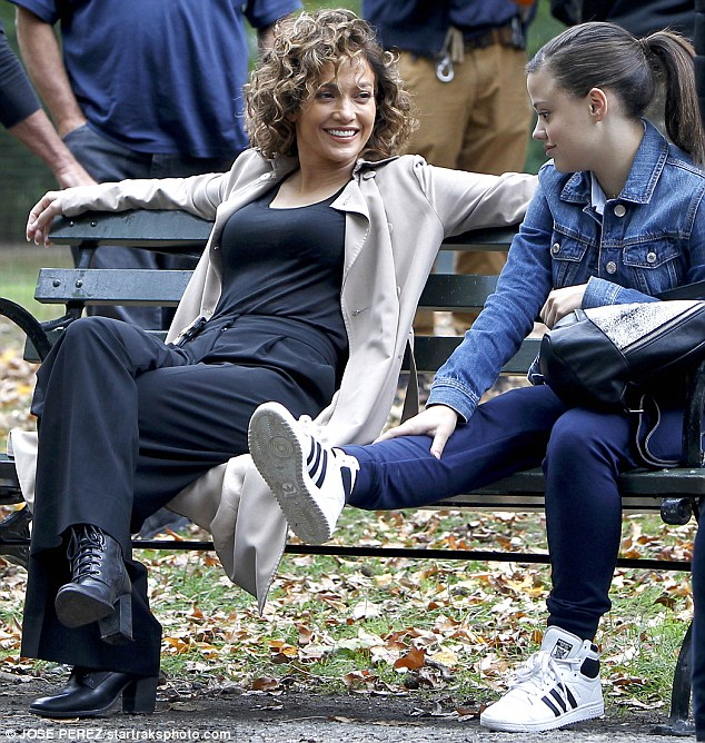 Working mom: Jennifer Lopez was seen with her TV daughter Sarah Jeffery in New York City for their NBC cop series Shades Of Blue