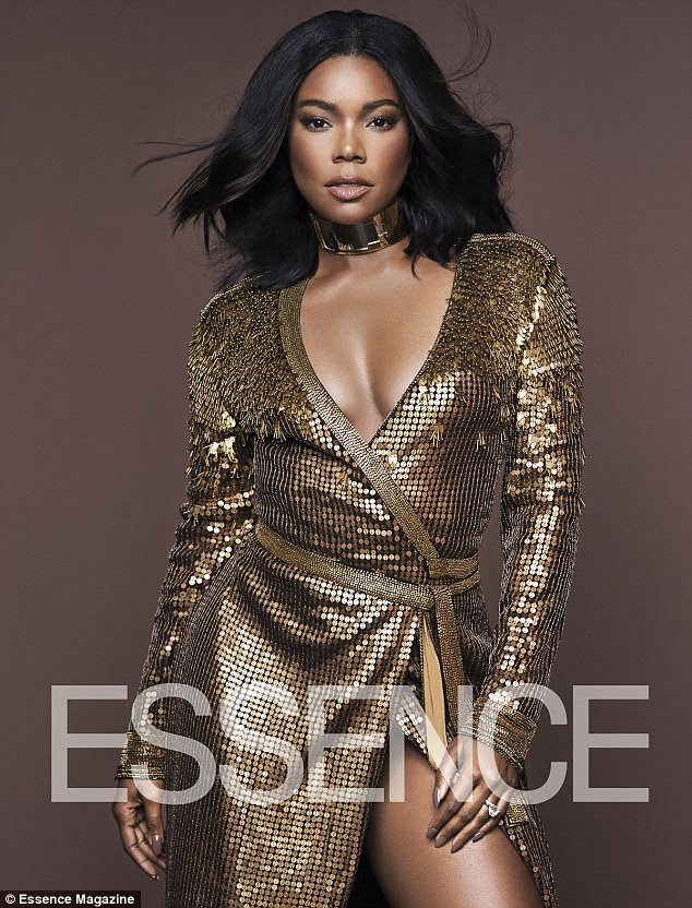Golden girl: Gabrielle Union looked absolutely stunning wearing a gold number in the pages of her November cover for Essence Magazine