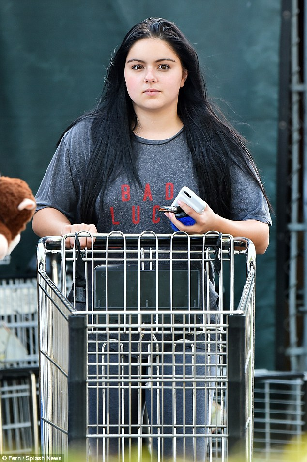 Health kick: The 18-year-old actress  was spotted make-up free and dressed down in all grey while grabbing groceries at Whole Foods