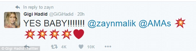 Delighted:The Los Angeles based supermodel, 21, congratulated former One Direction star Zayn on Twitter while travelling to Dubai for a modelling assignment, writing 'YES BABY!!!!!!! @zaynmalik @AMAs'